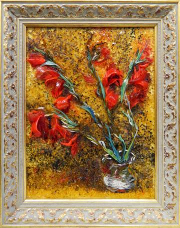Картина из стекла Хаим Сутин гладиолусы натюрморт