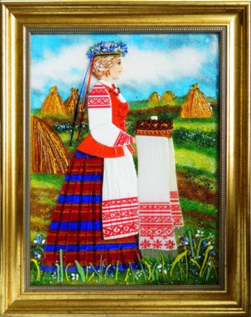 Картина из стекла белорусский сувенир хлеб-соль