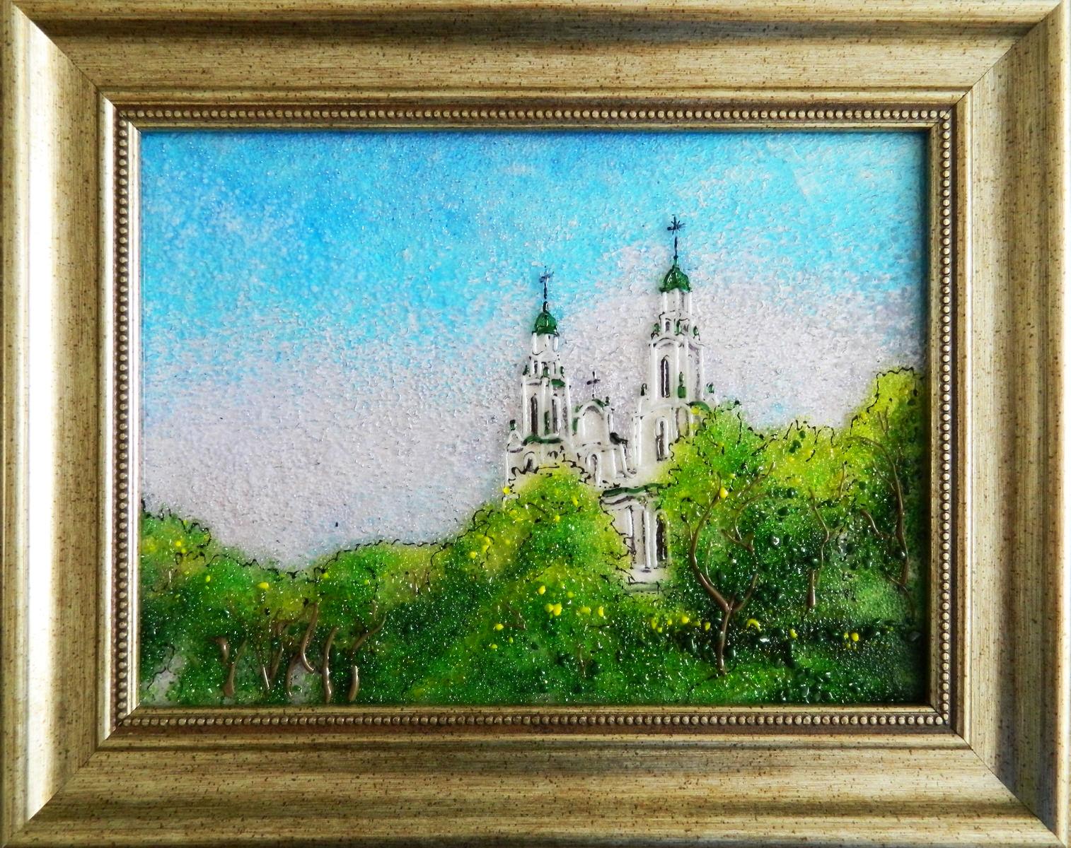 Картина из стекла Софийский собор в Полоцке пейзаж