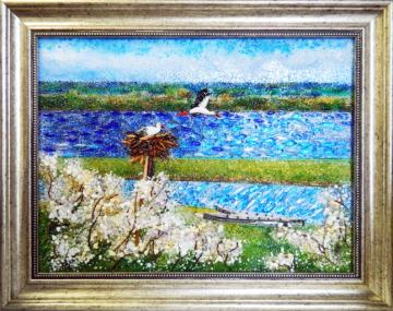 Картина из стекла белорусский пейзаж аист родной край
