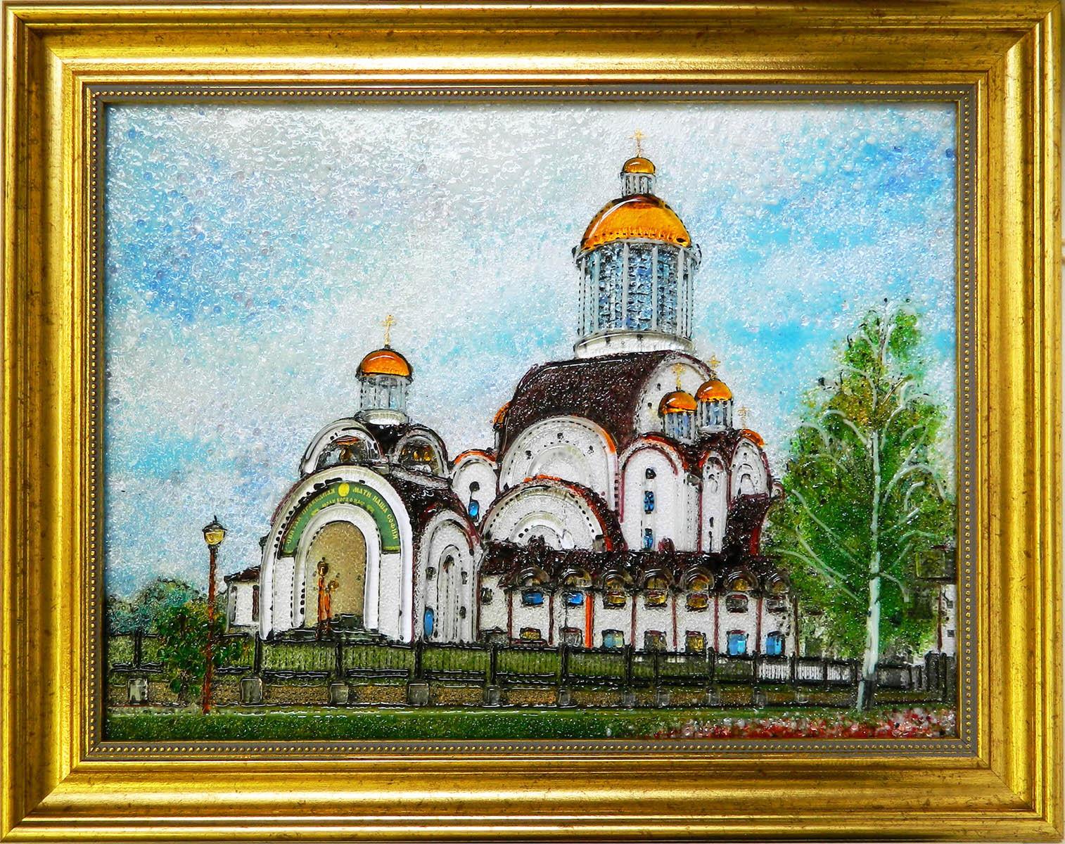 Картина из стекла Кафедральный собор Рождества Христова в Солигорске