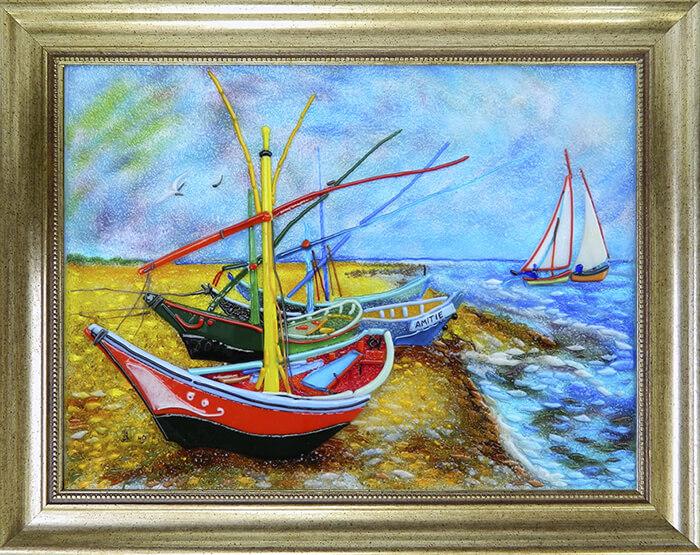 Картина из стекла Винсент ван гог лодки