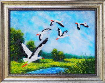 Картина из стекла аисты беларусь