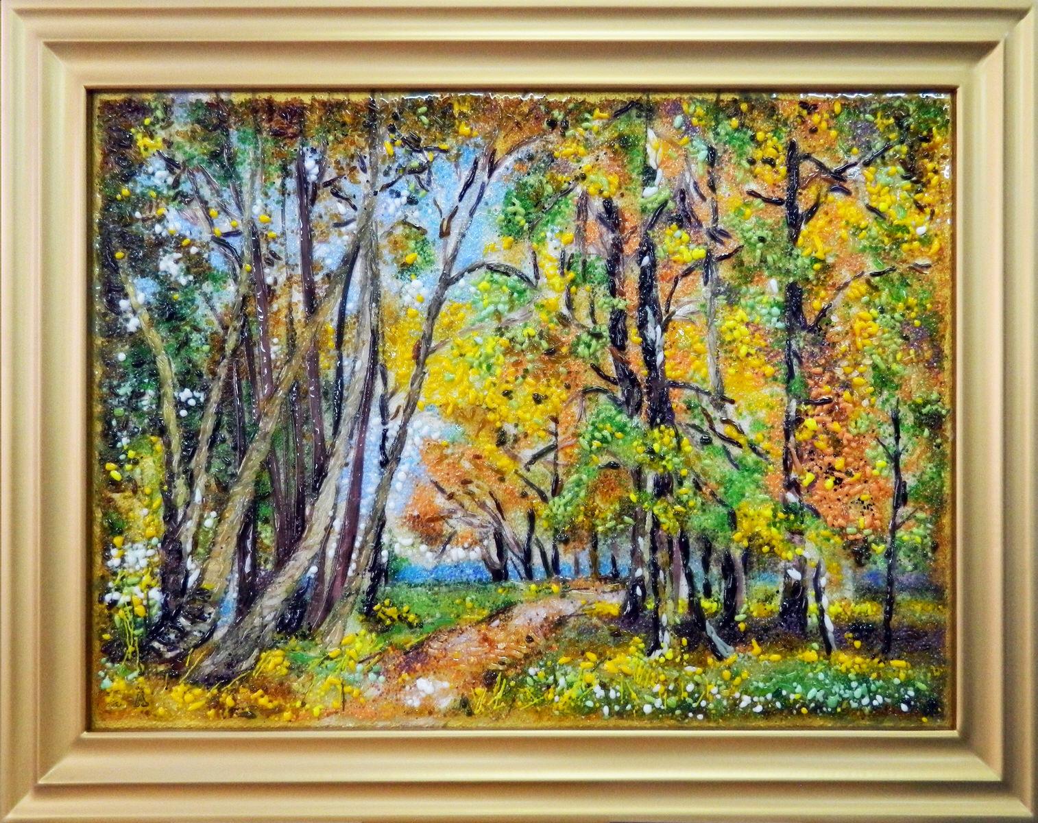 Картина из стекла белорусский осенний пейзаж