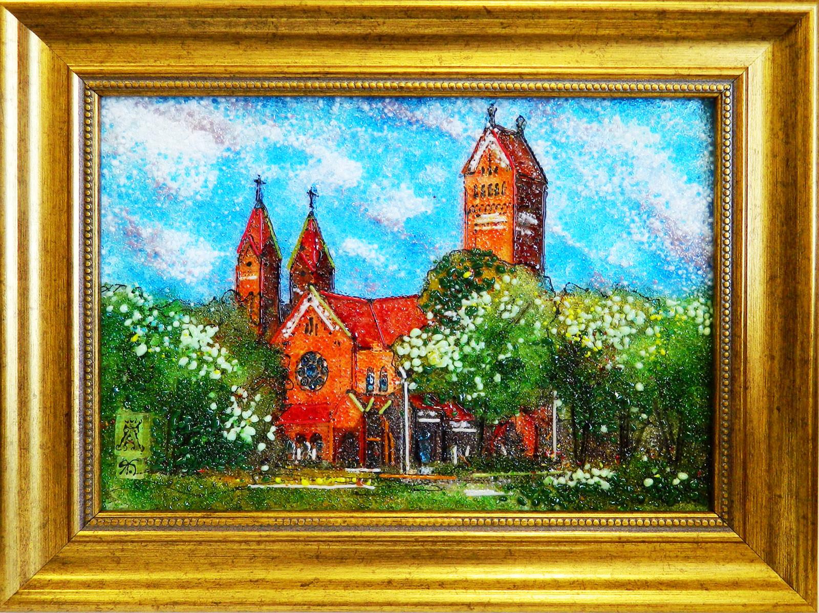 Картина из стекла белорусский пейзаж красный костел минск