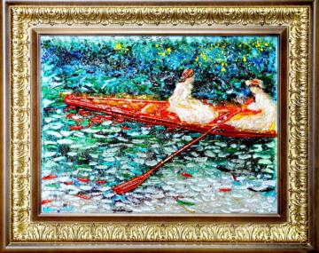 Клод Моне -Девушки плывущие в лодке по реке Эпт