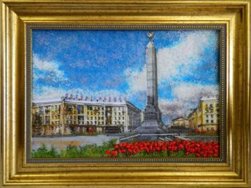 Картина из стекла площадь победы минск вов
