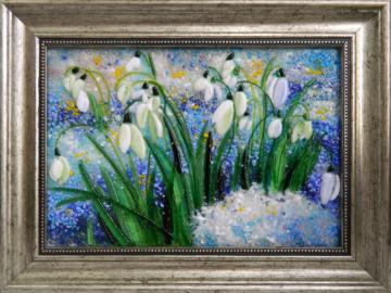 Картина из стекла подснежники