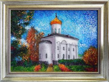 Картина из стекла белорусский осенний пейзаж Спасо-Преображенский храм Полоцкого Спасо-Евфросиниевского монастыря