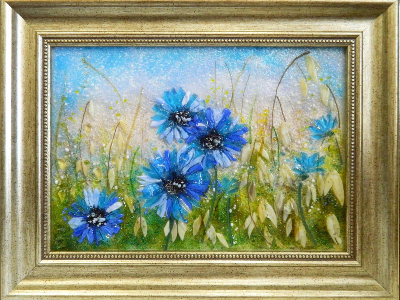 Картина из стекла васильки на хлебном поле