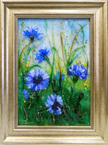 Картина из стекла васильки