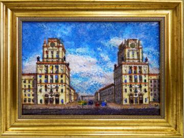 Картина из стекла белорусский пейзаж врата минска вокзал