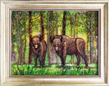 Картина из стекла белорусский пейзаж зубры беловежская пуща