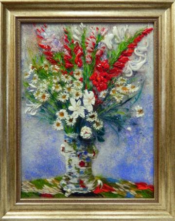 Картина из стекла Клод Моне Букет из гладиолусов, лилий и ромашек