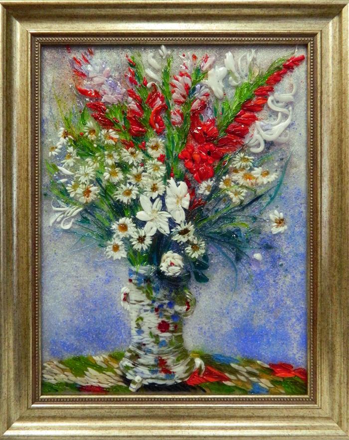 Клод Моне — Букет из гладиолусов, лилий и ромашек