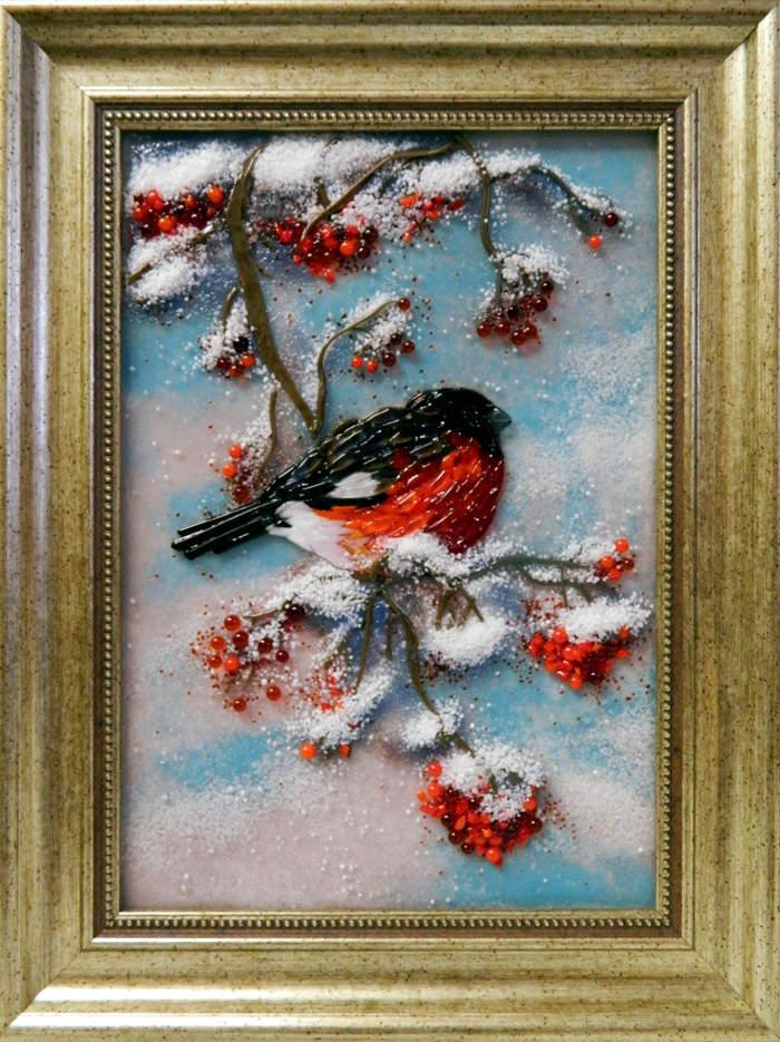 Картина из стекла снегирь рябина