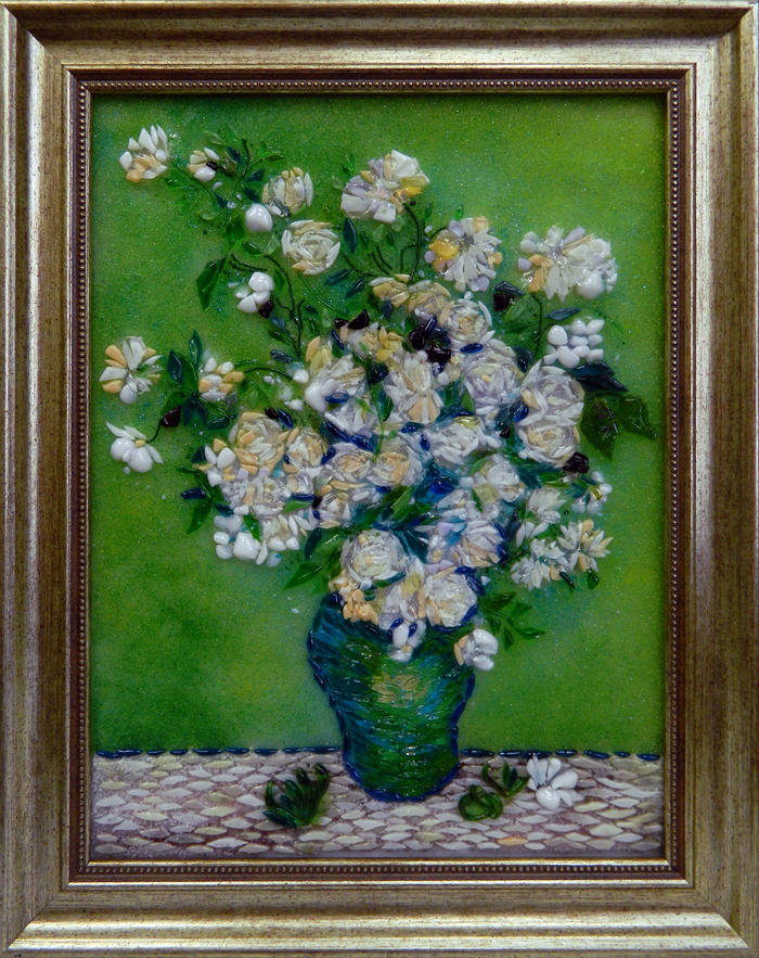 Винсент Ван Гог — Натюрморт: розовые розы в вазе