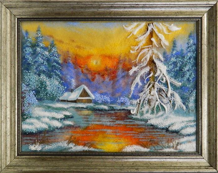 Картина из стекла белорусский зимний пейзаж