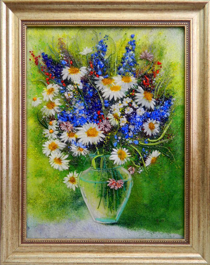 картина из стекла васильки и ромашки натюрморт