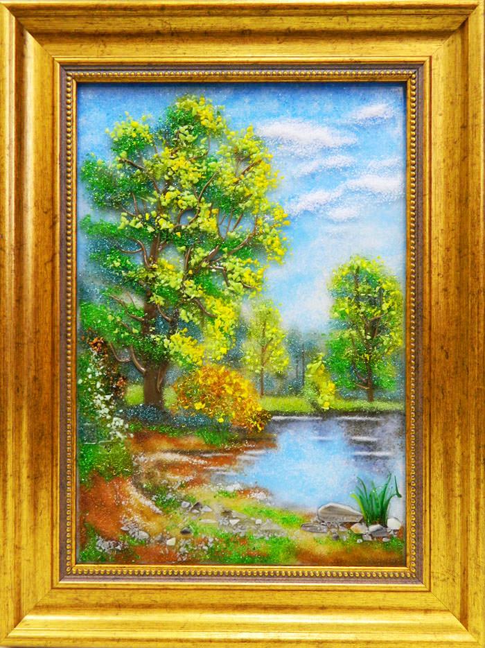 Картина из стекла белорусский летний весенний пейзаж