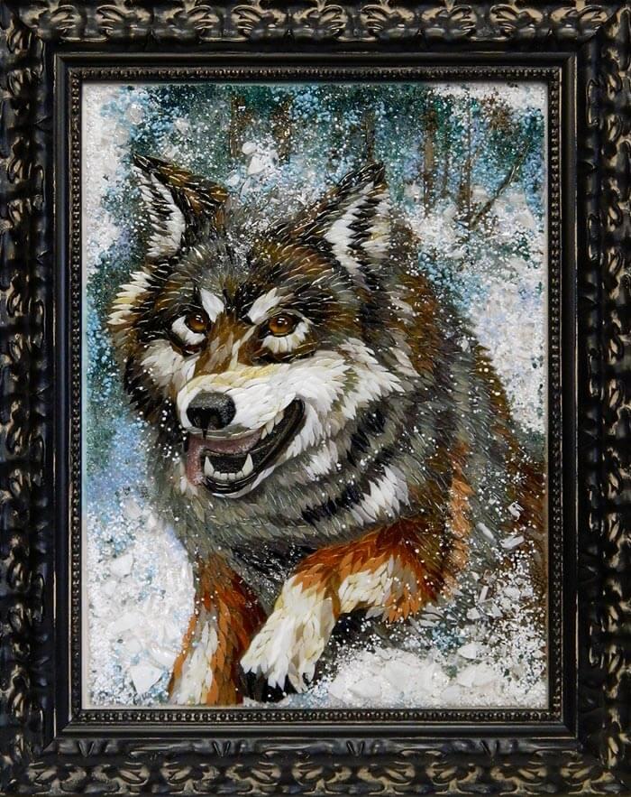 Картина из стекла Волк оригинальный подарок