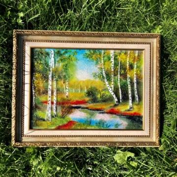 Картина из стекла «Березовая роща»