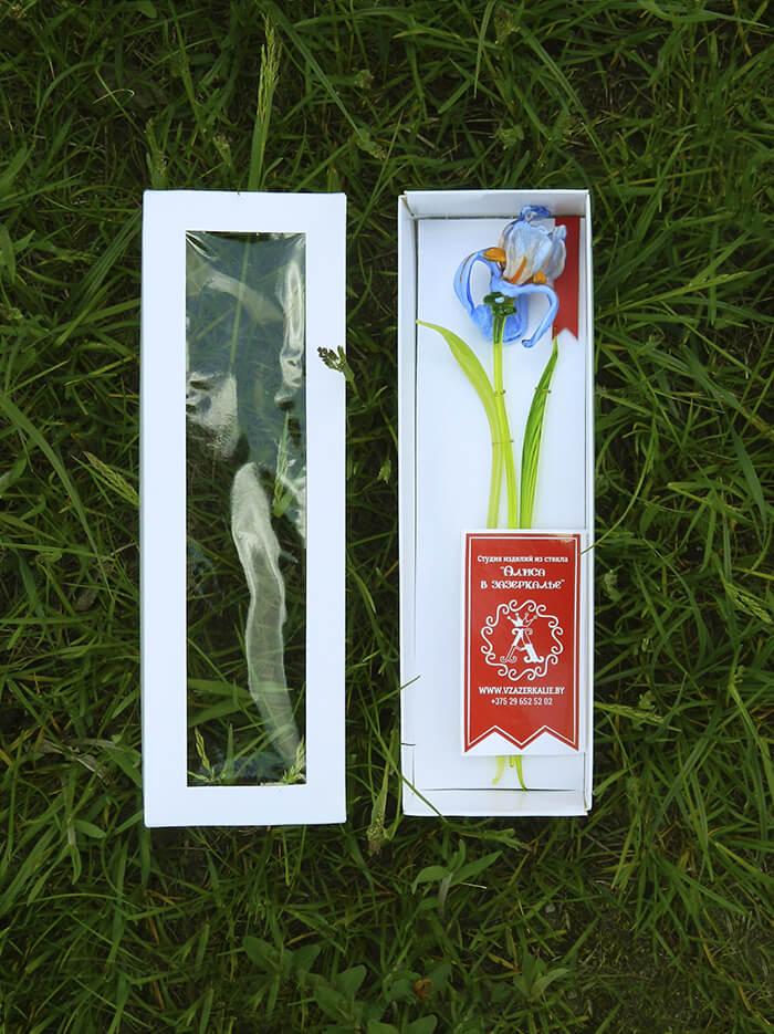 цветок из стекла ирис оригинальный подарок