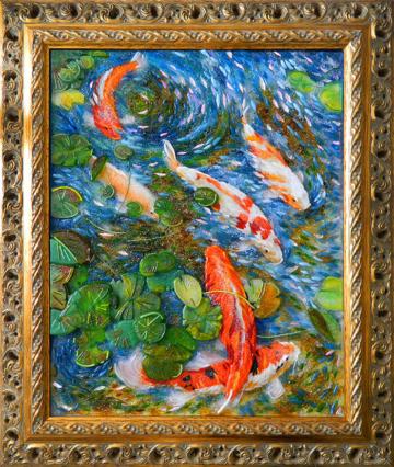 Картина из стекла Золотые рыбки