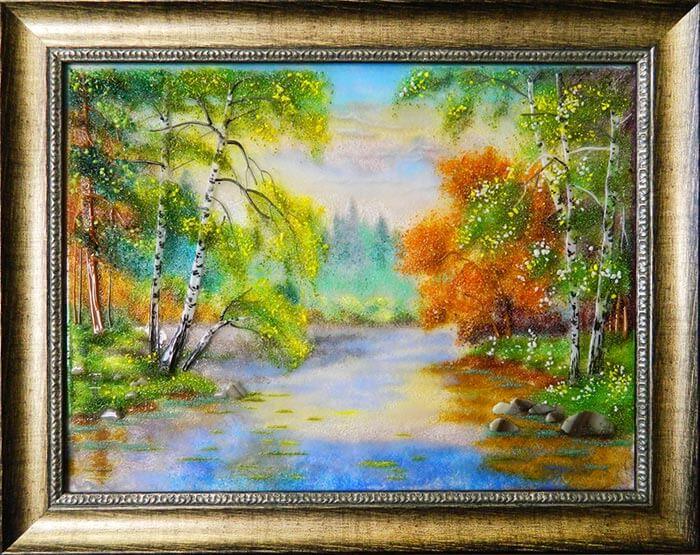 картина из стекла березки у реки
