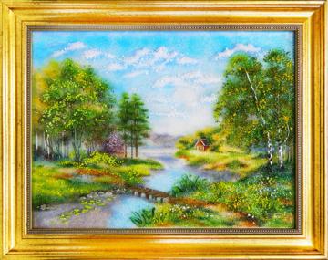 """Картина из стекла """"Дом у реки"""""""