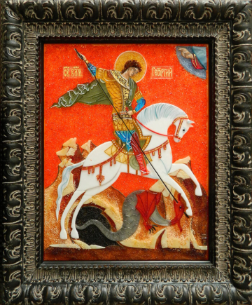 Икона из стекла «Чудо Георгия о змие»
