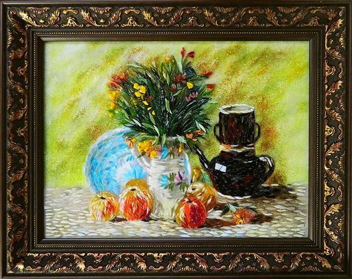 картина из стекла Ван Гог «Ваза с цветами кофейником и фруктами»