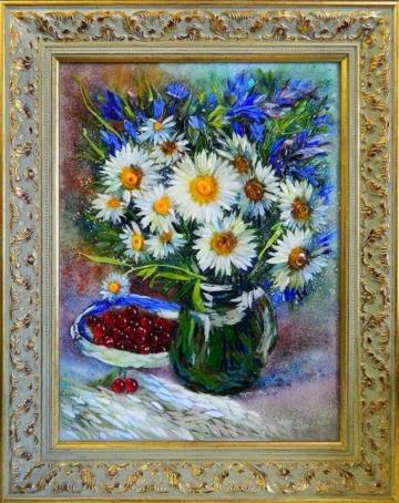Картина из стекла натюрморт с ромашками и вишней