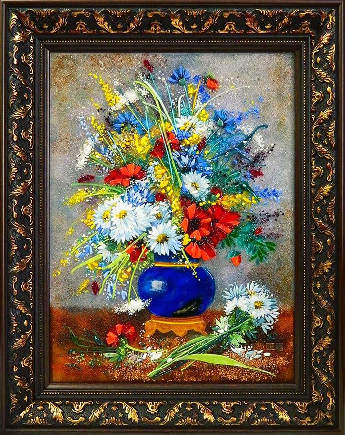 Картина из стекла Букет летних цветов
