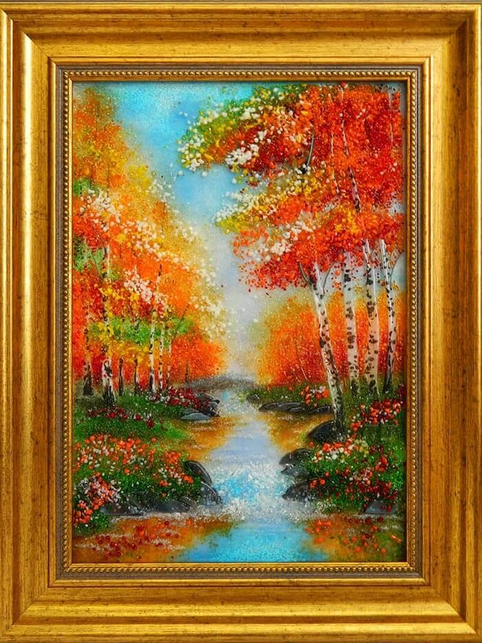 картина из стекла пейзаж осенний ручей лучший подарок