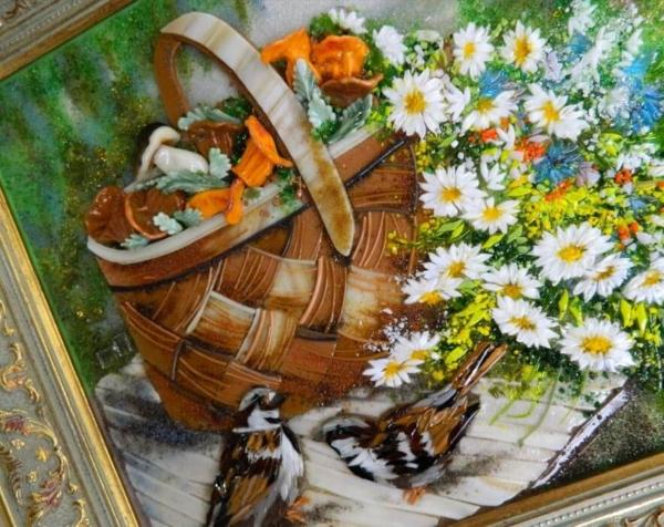Картина из стекла воробьи у корзины с грибами