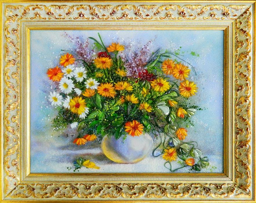 Картина из стекла букет лилейников