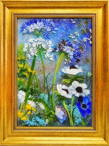 Картина из стекла вечерние цветы