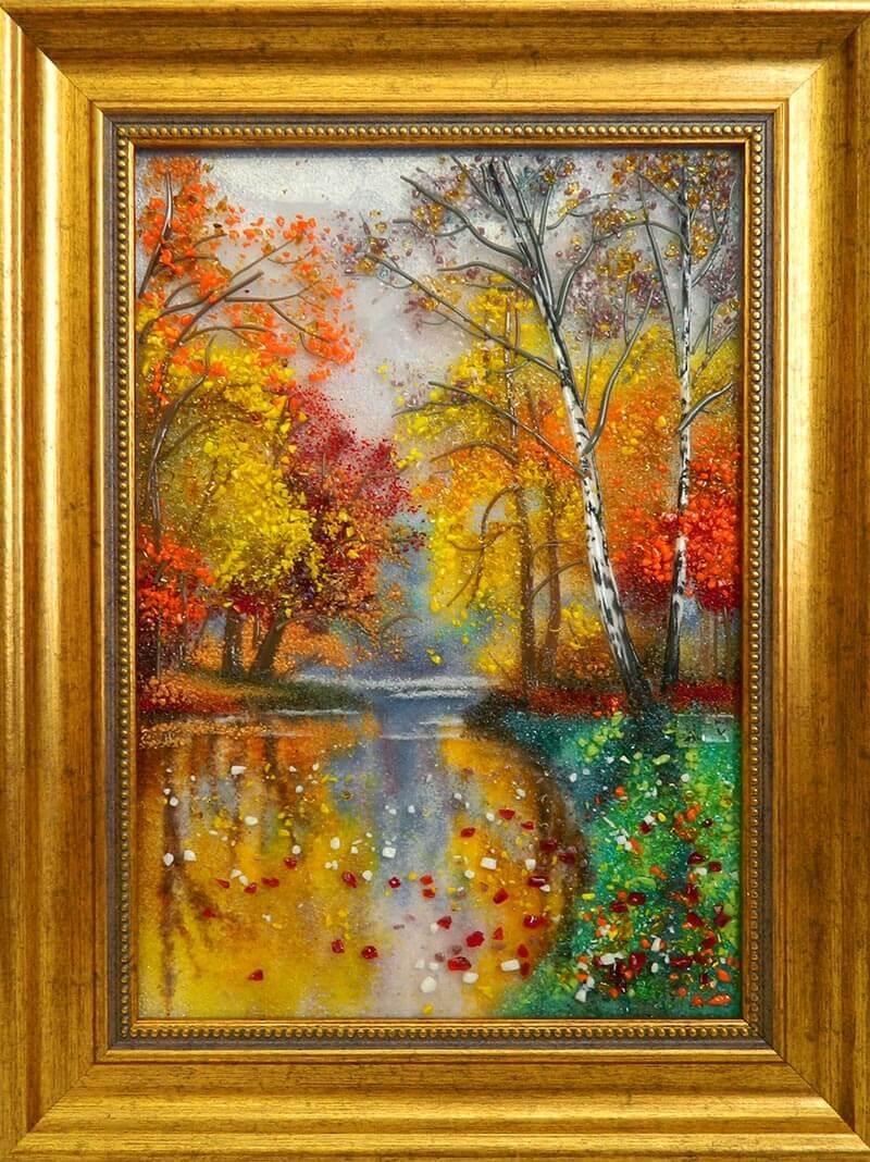 картина из стекла листопад