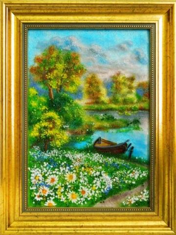 картина из стекла пейзаж причал у ромашкового поля лучший подарок