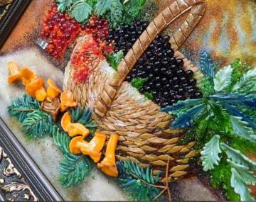 картина из стекла натюрморт ягодное лукошко и лисички лучший подарок