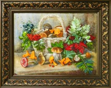 картина из стекла натюрморт грибное лукошко оригинальный подарок