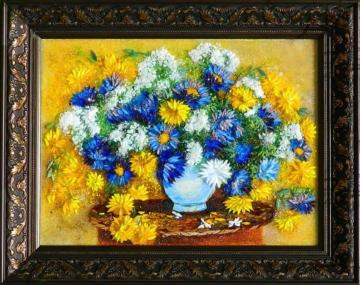 Картина из стекла натюрморт с желтыми хризантемами
