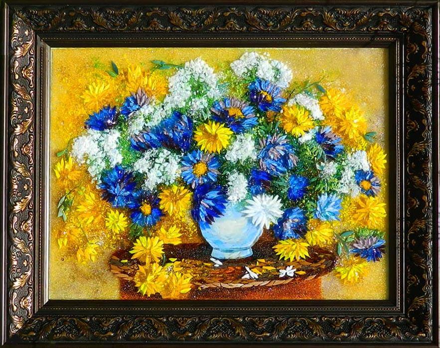 Натюрморт с желтыми хризантемами