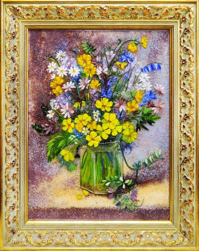 Картина из стекла Натюрморт с желтыми примулами