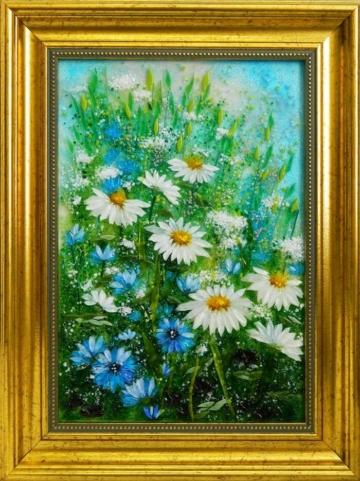Картина из стекла летнее поле оригинальный подарок