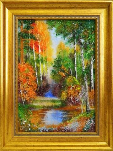 картина из стекла из лета в осень