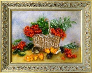 Картина из стекла осенний натюрморт с рябиной и грабами оригинальный подарок