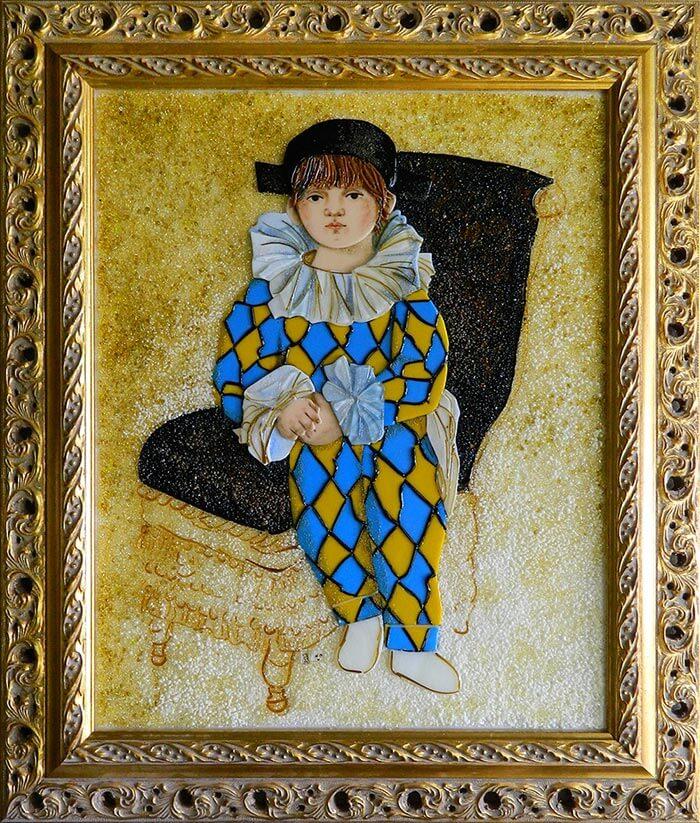 Картина из стекла Пабло Пикассо Арлекин