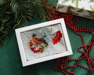 подарочный набор магнит из стекла и льняная салфетка оригинальный подарок на новый год